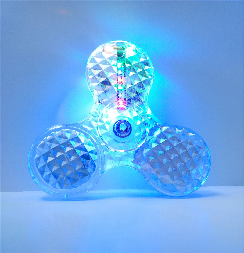 100pc Lot Crystal LED Stage Light Fidget Spinner Hand Finger Spinners Bluetooth Speaker Answer Call Listen Music Iphone