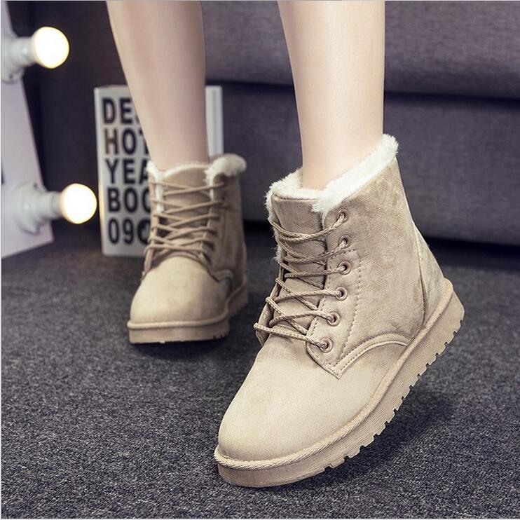 Hot 2016 female women casual boots winter warm boots fashion lace-up with round head flat shoes women Mujer botas plus size 40<br><br>Aliexpress