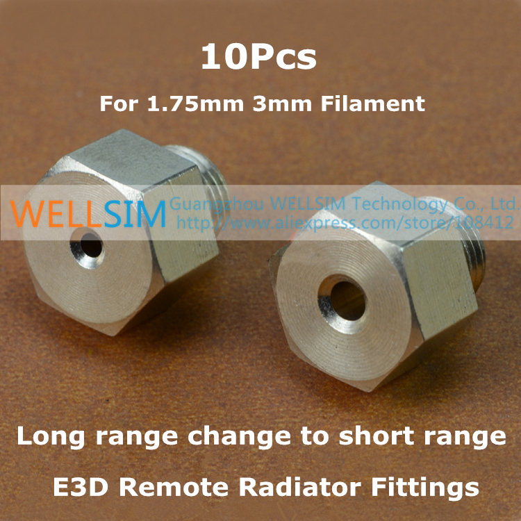 10Pcs E3D Remote Radiator Fittings Long range change to short range Connector Adapter head For 1.75mm 3mm For 3D Printer<br><br>Aliexpress