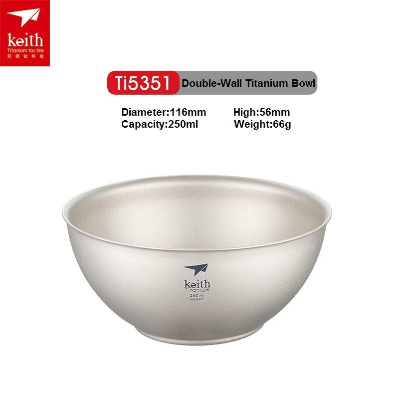 Outdoor Double-Wall Titanium Bowl Children Bowl Portable Titanium Cookware Mini Picnic Tableware Ti5351<br>