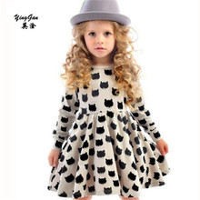 Girls black dress cartoon long sleeved black stamp elastic pleated Zou comfortable dress stitching girl dress Cartoon cat dress