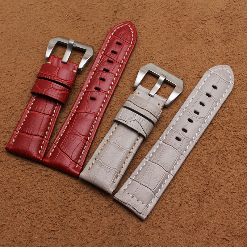 Red Gray Crocodile grain Watchband with silver deployment pin buckle polished Watch accesssorie 22mm 24mm Genuine Leather strap <br><br>Aliexpress