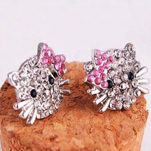 Bing Tu Brand Cute Animal Shape White And Pink Crystal Cat Earrings Silver Color Women Gift Jewelry Bowknot Stud Earrings