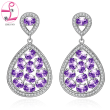 ZHE FAN Women Piercing Dangle Earrings AAA CZ Cubic Zirconia Micro Pave Water Drop Earring Jewelry Purple Green Royal Blue(China)