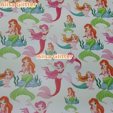 Alisa Glitter 40x134cm Printed Leather Fabric Mermaid Fabric Faux Synthetic Leather Soft touch fit for DIY accessories GM030e(China)