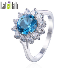 Lateefah Flower Blue CZ Rings for Women Created Aquamarine Ring White Gold Color Sunflower Ring Ringen Voor Vrouwen Anel Bague