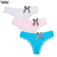 Buy FUNCILAC Underwear Women Leopard Sexy Thongs Panties Lace Transparent Tanga T-Back G-Strings Bowknot Underpants Brifes 3Pcs/Lot