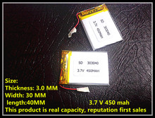 Manufacturers specialized 3.7 V lithium polymer battery 303040 driving record Bluetooth stereo pedometer 450 mah(China)