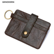 Slim Credit Card Holders with Key Ring Genuine Leather Mini Card Holder Purse Small Men Wallets Credit Card Holder for Men