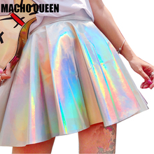 Silver Holographic Women Vinyl Skirt Clothes Punk Laser Hologram Foil Fabric Skater Skirt Rave Festival Outfits