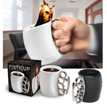 Novelty Design Fist Cup Brass Knuckle Duster Handle Cup Coffee Milk Ceramic Mug Creative Cup
