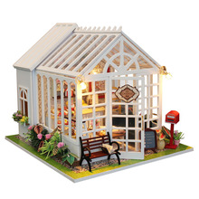 DIY Happy Kitchen Doll House Miniature Cake Shop Wooden Dollhouse Furniture Kit LED Light For Childen Christmas Birthday Gift