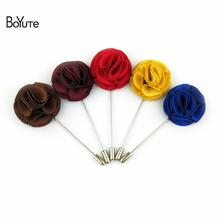 BoYuTe 10Pcs Men Lapel Pins for Suits Fashion Fabric Flower Wedding Boutonniere Pins(China)