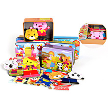 Baby Wooden Magnetic 3D Puzzle Cute Bear Dress Changing Jigsaw Puzzle Cartoon Animal Children Educatinal Toys with Iron Box