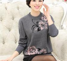 High quality autumn and winter elegant women's fashion floral pullover thick sweater
