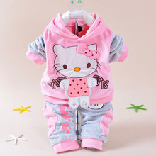 Autumn Baby Kids Set Velvet Hello Kitty Cartoon T Shirt Hoodies Pant Twinset Long Sleeve Velour Children Clothing Sets 0-2 years