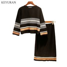 Plus Size XL-5XL Women Knitted Jumpers Tops and Skirt Suits Striped Long Sleeve Pullovers Sweater Elegant Female 2 Two Piece Set(China)