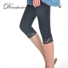 Women Summer Lace Leggings Thin Solid Stretch Skinny Pant Mid Calf Ladies Leggins Black White Half Pants Female 2017