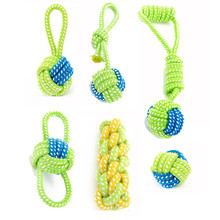 Dog Toy Puppies Chew Tooth Cleaning Cotton Rope with Handle Knot Bite Resistant Ball Teeth Molars Pet Toys For Large Small Dogs(China)