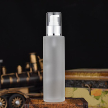 120ML  frosted glass bottle with matte silver press pump for serum/lotion/emulsion/ foundation/gel/essence packing glass bottle