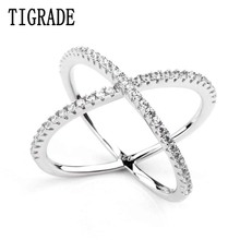 Women Rings Double Layer Cubic Zircon X Shape 925 Sterling Silver Jewelry Criss Cross Ring CZ Eternity Girls Long Rings(China)