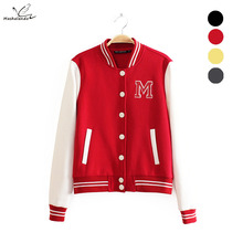 M logo classical bomber ladies jacket women coat female autumn casual cardigan _ patchwork Baseball o-neck tops bolero 2016