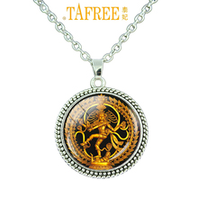 TAFREE Religion jewelry Vintage Nataraja chain necklace Glass cabochon Dancing Shiva charm pendant India Buddhist jewelry C 058