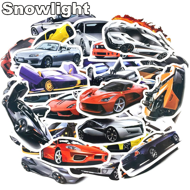 50pcs Sports Car Style Design Cartoon Sticker For Suitcase Car Laptop Cell Phone Toy Styling Vinyl Decal Home Decor Sticker