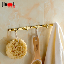 Full Copper Wall Hook for Bathroom Gold Coat Hooks Wall Hanger Metal Europe Robe 5 Towel Hooks Bathroom Accessories Clothes Hook(China)