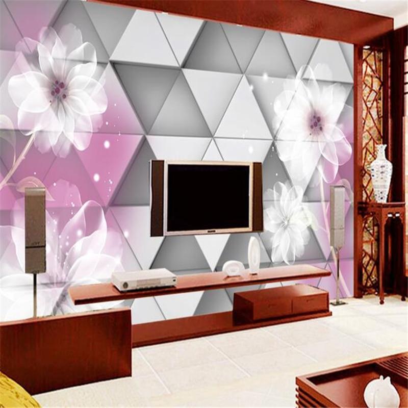 wallpaper  for walls 3 d papel de parede 3D Wallpapers Photo Geometric Lily Mural 3D Living Room Bedroom TV Wall paper Mural <br><br>Aliexpress