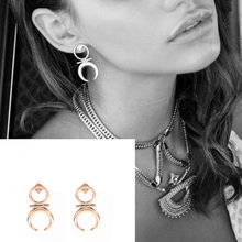 1 pair  New Bijoux Fashion accessories vintage punk mix color Half Moon Bay type stud earrings nice gift for women ladie's E285