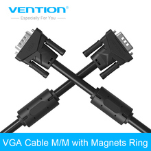 Vention Projector Extension VGA to VGA Cable with Double Magnets Ring High Premium VGA Black Cabo Male to Male 1m/2m/3m/5m(China)