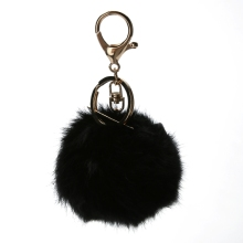 Bunny keychain rabbit fur key chain women trendy trinket black blue Bunny Bag keychain key Chains(China)