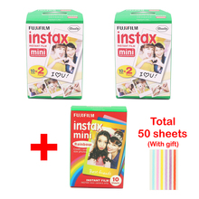 fujifilm 40 sheets White Edge 3 inch wide and 10pcs Rainbow paper instax mini 8 film for camera Instant mini 7s 25 50s 90 Photo