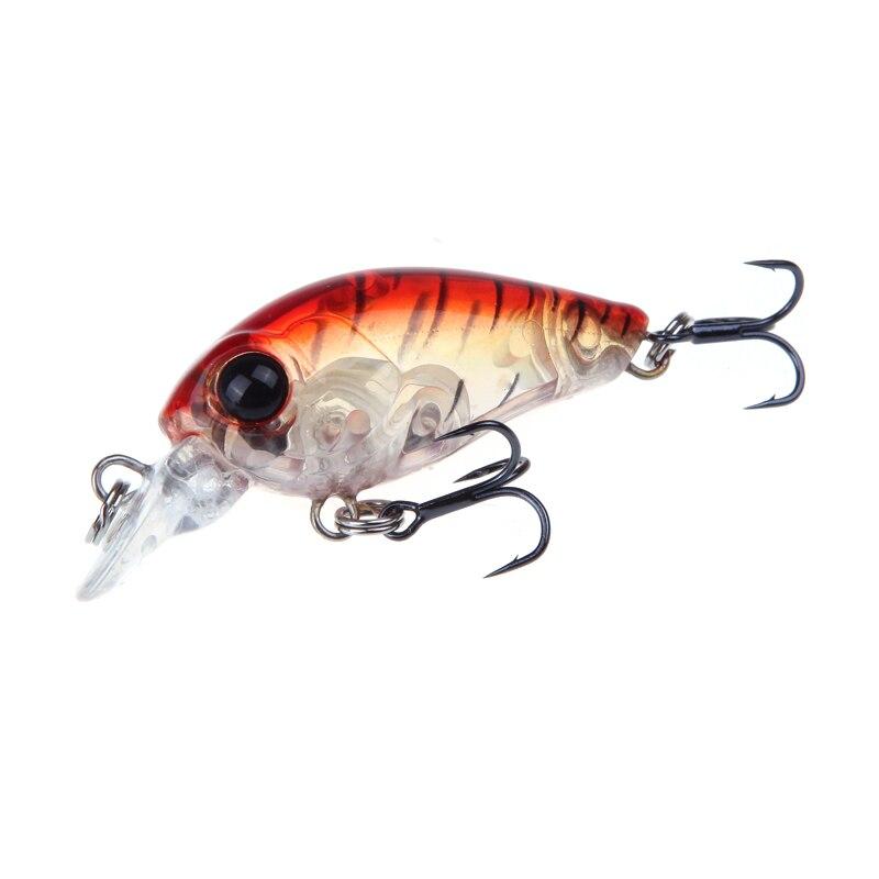 Trulinoya Fishing Lure DW24 35mm 3.5g 1.2m Mini Crank Fishing Lures Hard Bait Lure with Hooks Red/Green/Blue/Black 6