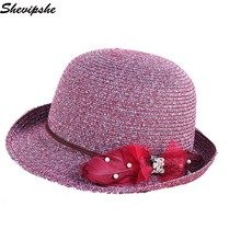 Shevipshe Retail Women Wide Brim Floppy Summer Beach Sun Hat Straw Hat Flowers Cap Summer Hats For Women Visors Chapeu Feminino
