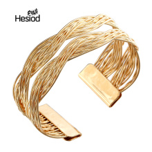 Fashion Jewelry Wholesale Alloy Gold/Silver Color Twisted Metal Rattan Women Wide Bracelet&Bangles Adjustable(China)