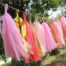 5Pcs/Pack Tissue Paper Tassels Garland Ribbon Balloons Birthday Curtain Marriage Car Party Supplies Wedding Decoration