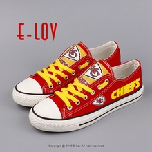 New Arrived Fashion Kansas City Chiefs Men's Graffiti-art Shoes Fans Custom Printed Low Top Canvas Shoes Boys Cool Leisure Shoes(China)
