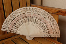 Vintage Folding Bamboo Hand Fans Wooden Hollow Carved Wedding Dancing Bridal Party Decor Fragrant Sandalwood Fan DHL free shipp(China)