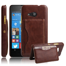 Vintage PU Leather Case For Mircosoft Nokia Lumia 550 Cell Phone Cases & Bags With Card Holders Original Back Cover Capa Brown