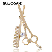Blucome Comb Scissors Brooch Hat Collar Clips Bijoux Austrian Crystal Hijab Pins Up Brooches For Wedding Dress 2017 Girl Jewelry(China)