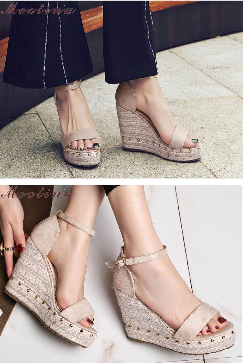 Women's Sandals, Platform Sandals, High Heels Shoes, Ankle Strap, Ladies Sandals Rivet Casual Footwear 11