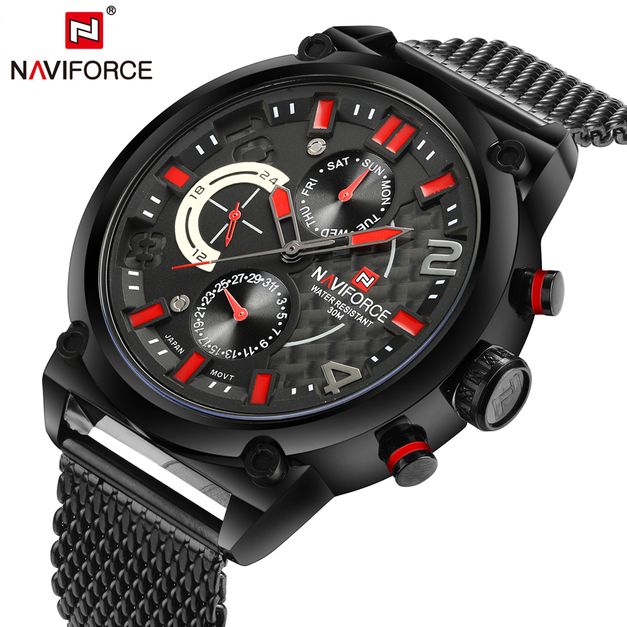 NAVIFORCE Brand Luxury Quartz Watches Men Mesh Steel Strap Big Dial Date Chronograph 24 Hours Sport Watch Waterproof Male Clock<br>