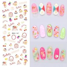DS187 DIY Nail Design Water Transfer Nails Art Sticker Pink Sweet Christmas Nail Wraps Sticker Watermark Fingernails Decals