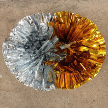 2 Metallic Foil & Plastic Cheerleading Pom Poms(China)