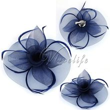 Top Quality Navy Blue Fashion Handmade Lady Women Fascinator Bow Hair Clip Headwear Lace Feather Mini Hat Wedding Party Decor