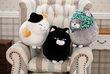 1pc 30cm/40cm Japanese black beard steamed cat plush toys for children, cat stuffed animal doll girl gift