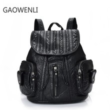 GAOWENLI Draw String Braiding Wash Leather Bag Designer Backpack High Quality Laptop Backpack for School Teenage Girls Mochila(China)