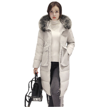 New Fashion Winter Coat Women Jacket Faux Fox Fur Collar Hooded Women's Long Down Coat Cotton Jacket With 90% White duck down
